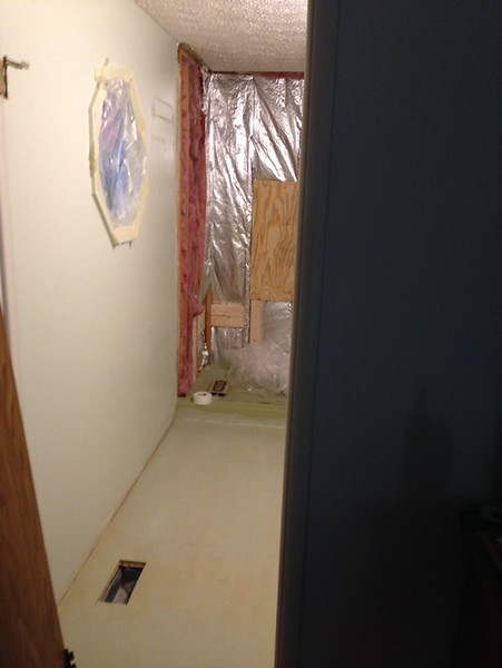 2018-02-16 (Day 4): Master bath. Boards installed for seat and grab bar secure placement.