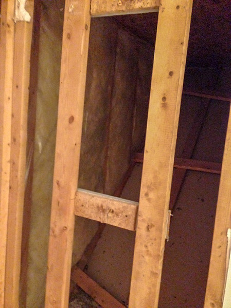 2018-02-13 (Day 1): Master bath demolition.  Behind shower, over stairwell.  About 9 inches to expand.