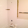 2018-02-28 (Day 12): Hall Bath. Subway tile almost completely installed.