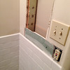 2018-03-02 Hall Bath.   Wainscot installed on medicine cabinet wall.