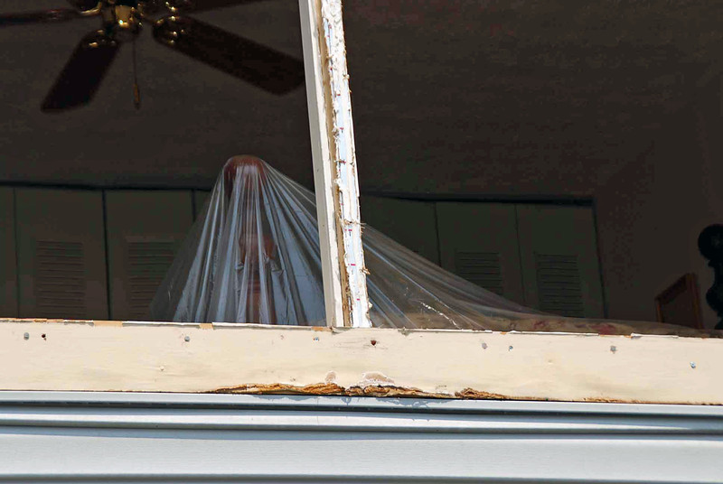 Closeup of the underlayment outside the master bedroom windows.