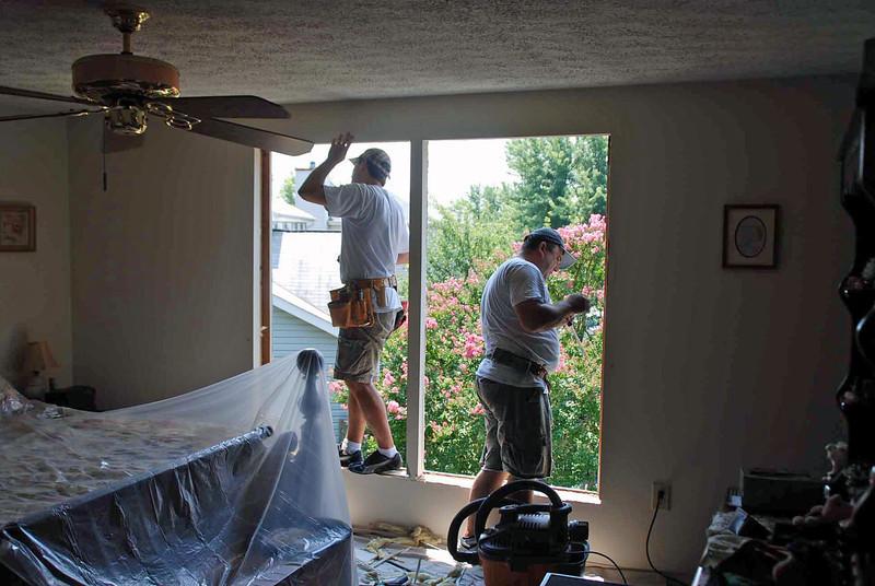 Preparation of master bedroom window installation.