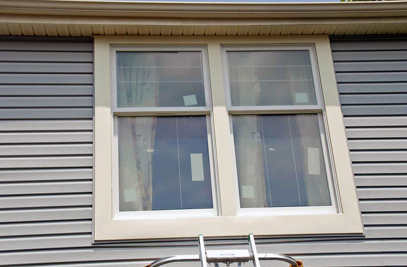 The exterior of the master bedroom windows.