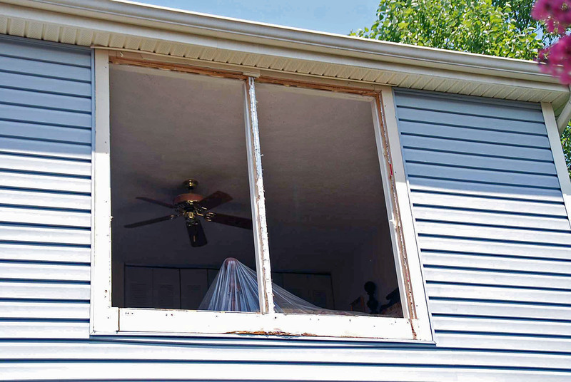 Outside of the master bedroom windows.