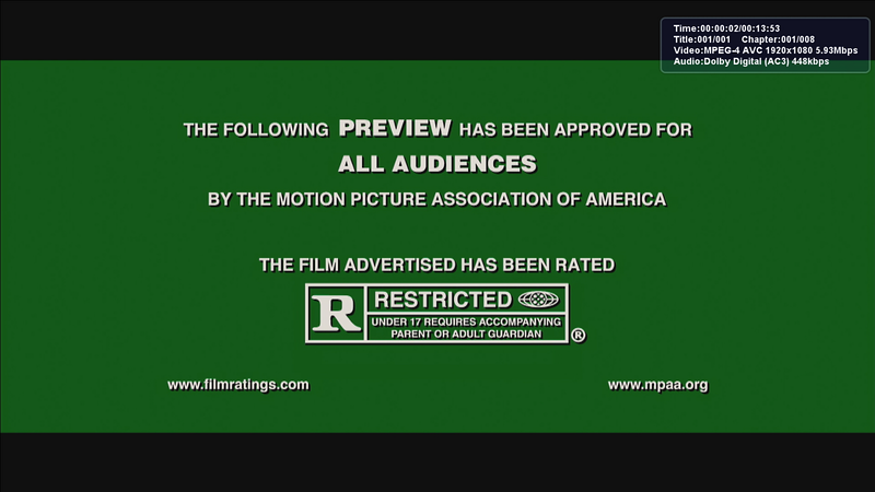 Screengrab of a ratings warning taken from Arcsoft Total Media Theater software, played at 1680x945 resolution.<br /> <br /> Using an NVIDIA 8800GT, with hardware acceleration ENABLED. Notice how much worse the quality is!