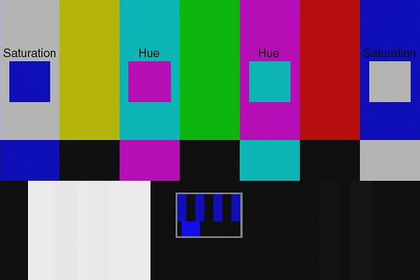 AVIA Chapter 7 - Standard Color Bars - Blue Bars.<br /> Useful for checking the color decoder of your DVD player.