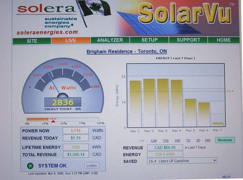 "This is a sample page of my solar monitoring web page. It can be found at:<br /> <a href=""http://www.solarvu.net/green/solarVu.php?ac=brigham"">http://www.solarvu.net/green/solarVu.php?ac=brigham</a>.<br /> <br /> It is updated every 10 minutes, although occasionally, the link disconnects at my end for some unknown reason"