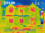 This is an infra red image of our home on a -14 C winter night.