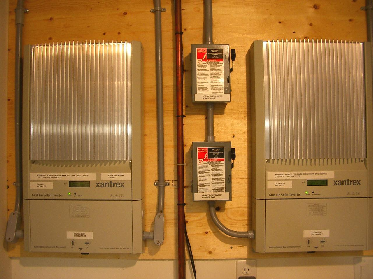 2 Xantrex GT 3.3 inverters in the basement.