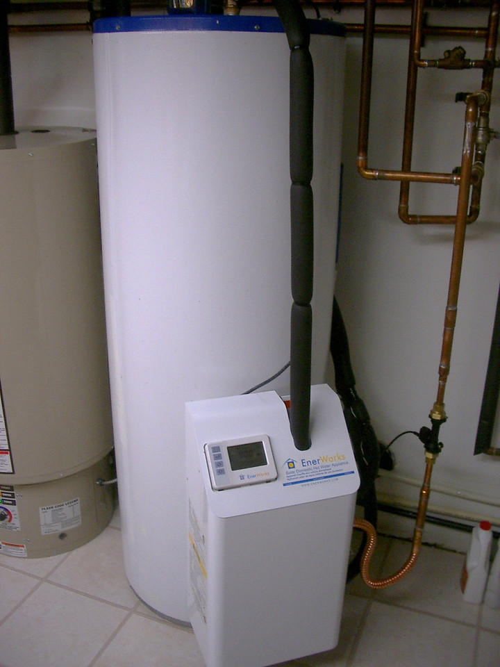 This is my solar hot water tank which feeds my main (natural gas) hot water tank. Mine is an Enerworks system.