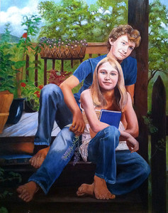 The W children on their homeplace deck steps