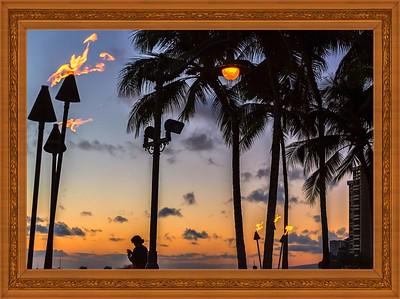 The End Of Beautiful Day In Waikiki Beach,Hawaii