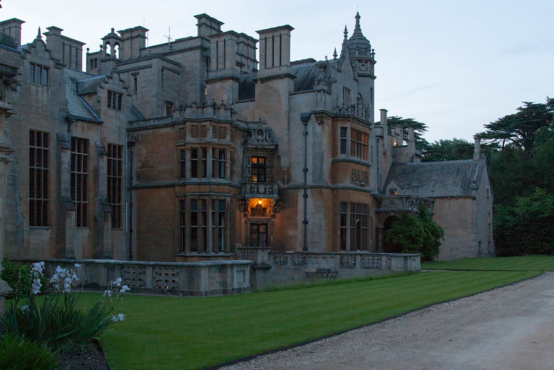 The rear of the manor at sundown.