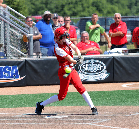 St. Anthony's Stacie Vonderheide hits the ball during a softball game against Illini Bluffs in the Class 1A state championship game, Wednesday, June 16, 2021, at the Louisville Slugger Sports Complex in Peoria, Ill.