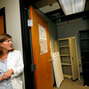 Allegra Boverman/Gloucester Daily Times. Chassea Golden Robinson, a public health nurse for the City of Gloucester, was concerned that water damage destroyed all the medical supplies the health department had been storing in this room. Cleanup has been going on all week at the CATA building which houses city offices including the health department.