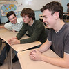 Allegra Boverman/Gloucester Daily Times. From left are Kelly Biondo, Nate Allen, Quenton Hurst, Corey Silver, Oliver Herman and at right, Sophie Palmer, answering quiz questions on Tuesday afternoon at Rockport High School.