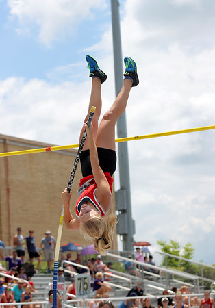 St. Anthony's Allison Green attempts to clear the bar at the Class 1A girls track and field state finals, on Thursday, July 10, 2021, at O'Brien Field on the campus of Eastern Illinois University in Charleston, Illinois.