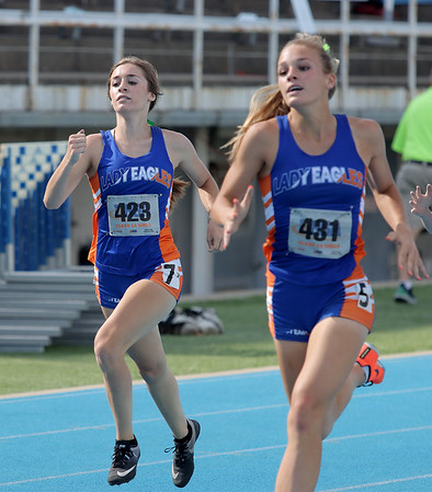 Newton's Laney Hemrich competes in the 400-meter dash event at the Class 1A girls track and field state finals, on Thursday, July 10, 2021, at O'Brien Field on the campus of Eastern Illinois University in Charleston, Illinois.
