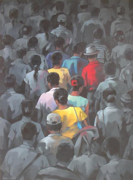 Khin Zaw Latt - Crowdscape - Acrylic on canvas - 122 x 92 cm - 2008