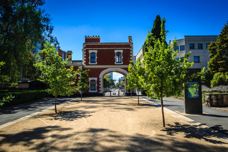 Parramatta Park, NSW, Australia<br /> The George St Gatehouse, O'Connell St (opposite the intersection with George St itself). Erected 1885 to the design of Gordon McKinnon; replacing a small lodge built in 1820 for Governor Lachlan Macquarie.