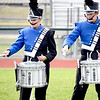 Members of the Newton Community High School Marching Eagles drum line demonstrate unique sticking during their competition on Saturday afternoon. The Marching Eagles a Class 3A band brought home the Class 3A and Class 4A grand championship honors. Picture from left to right, Zak Pitcher, Arianna Goss and Avery Howard.  Newton captured the best percussion trophy in the Class 3A schools division. Charles Mills photo