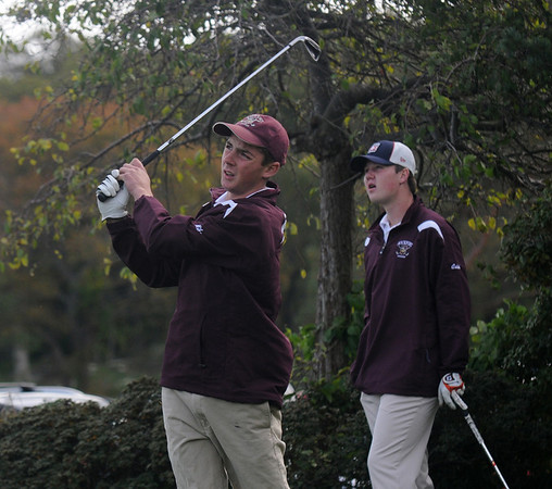 Jim Vaiknoras/Gloucester Daily Times: Rockport's Mike Tapper tees off at the first hole during the teams match against Newburyport at Rockport Country Club Monday.