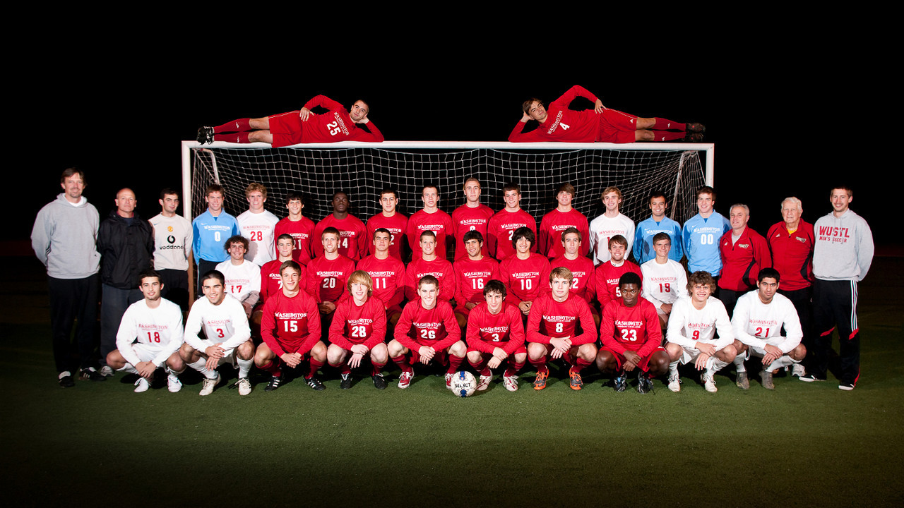 """A fun """"photo-shopped"""" photo of the Washington University Men's Soccer team when two players (Alex & Randy) arrived after the team photo was taken."""