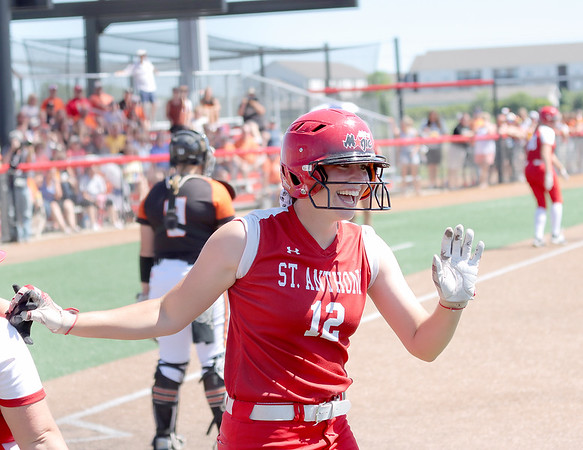 St. Anthony's Maddie Kibler smiles after scoring the game-tying run during a softball game against Illini Bluffs in the Class 1A state championship game, Wednesday, June 16, 2021, at the Louisville Slugger Sports Complex in Peoria, Ill.