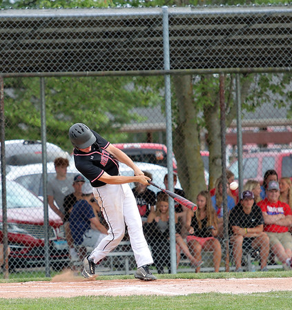 North Clay's Brady Ingram hits the ball during a baseball game against Effingham (St. Anthony) in the Class 1A Sectional 6 Regional Finals on Monday, July 7, 2021, at Evergreen Hollow Park, in Effingham, Illinois. (Alex Wallner/Effingham Daily News)
