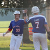 Shelby County Senior Legion's Jack Allen fist-bumps Ethan Clark after hitting a home run during a baseball game against the Central (Ill.) Titans, Wednesday, July 7, 2021, at Shelbyville High School.