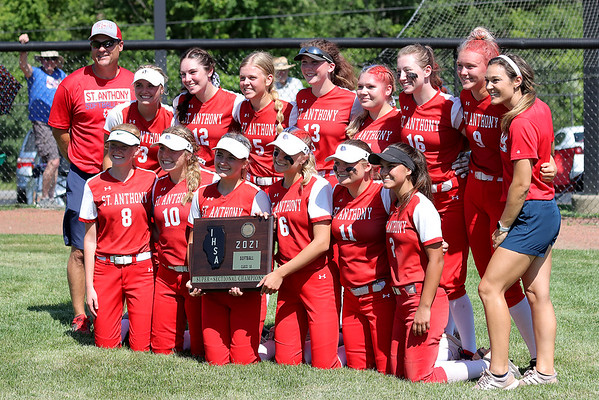 The St. Anthony softball team poses for a picture with the super-sectional plaque after winning the Class 1A Super-Sectionals against Marissa (Coulterville), Monday, June 14, 2021, at Johnston City High School, in Johnston City, Illinois. (Alex Wallner/Effingham Daily News)