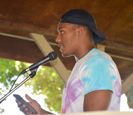 Matthew Robinson of Effingham talks about his experiences as a Black man in Effingham during the Effingham Social Justice Group's rally Saturday.