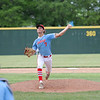 Effingham (St. Anthony) pitcher Logan Antrim delivers a pitch during a baseball game against North Clay in the Class 1A Sectional 6 Regional Finals on Monday, July 7, 2021, at Evergreen Hollow Park, in Effingham, Illinois. (Alex Wallner/Effingham Daily News)