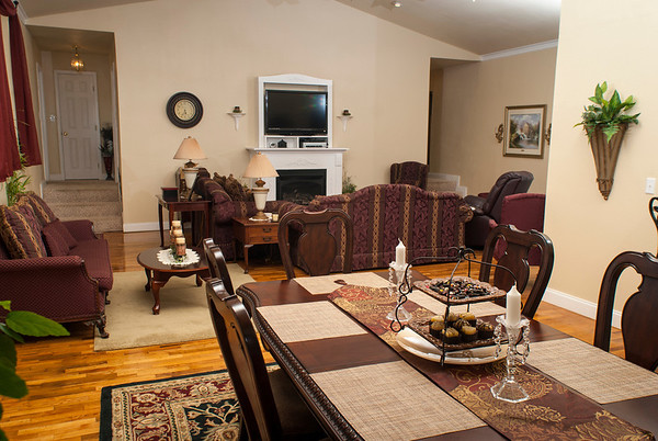 The dining room flows into the living room in the Jobe home. When the building was a school, students from first through eighth grades gathered in what is now the living room.