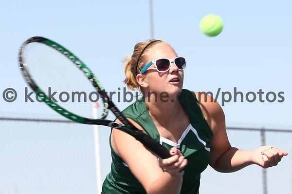 5-16-12<br /> Tennis Sectionals EHS vs Taylor, KHS vs Tipton<br /> EHS Charissa Richards playing # 1 doubles.<br /> KT photo | Tim Bath