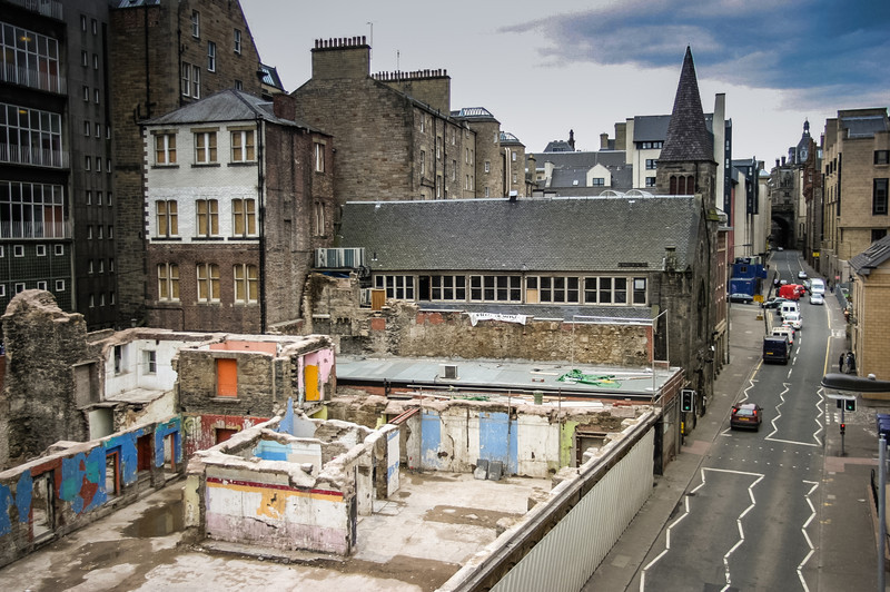 Edinburgh, Scotland<br /> Site of the Gilded Balloon shortly after the 2002 fire.