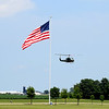 Vietnam Veteran and Pilot Robert Curtis flew a UH-1B Huey Vietnam Era helicopter onto the grounds of Mid America Motorworks on Friday afternoon during Vet Fest 2018 and 20th Annual VW Funfest.  Rides on the helicopter are available for purchase through Saturday. Charles Mills photo