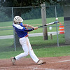 Shelby County Senior Legion's Mason Miller hits the ball during a legion baseball game against Lincoln Post 263 on Tuesday, June 29, 2021, at Shelbyville High School, in Shelbyville, Illinois.
