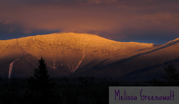 Mid-November alpenglow show on Mount Washington.  These fireworks, like most, were short-lived: 10 minutes at most.  But whoever says that winter is totally 'blah' has certainly never seen this!