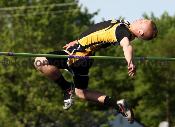5-17-12<br /> Boys Track Sectionals at KHS<br /> Pioneer's Blake Johnson in the high jump.<br /> KT photo | Tim Bath