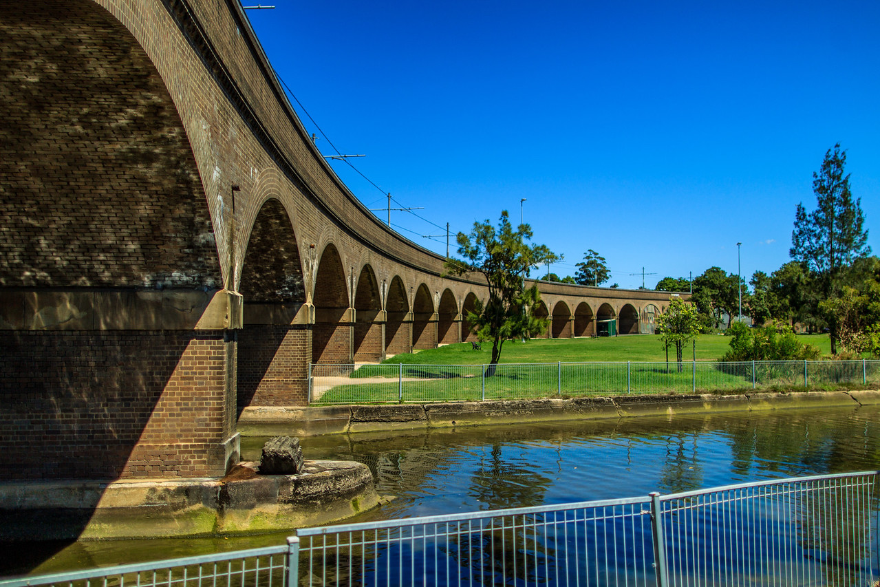 The Railway Viaduct. Crossing Wentworth, Jubilee and Federal Parks, it was built in 1922 to provide freight access from the Darling Harbour goods yard to the timber industry in Glebe and Rozelle.