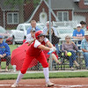 St. Anthony's Sydney Kibler tries to lay down a bunt in the Class 1A Sectional Semifinals against Hutsonville on Tuesday, July 8, 2021, at St. Anthony High School, in Effingham, Illinois. (Alex Wallner/Effingham Daily News)