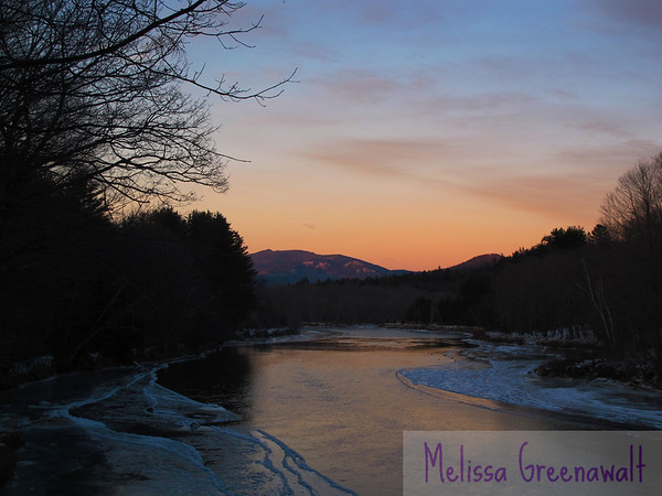 Warm, meet cold.  Now go play.<br /> <br /> Tecumseh and Welch-Dickey over the Pemi River, Campton, NH.