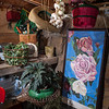 Trudy Sudberry's rock garden shed houses drying garlic, garden tools and supplies and garden-themed art. B.P. Sudberry rebuilt the shed, which little more than three crumbling walls when the Sudberrys began working on La Ferme.