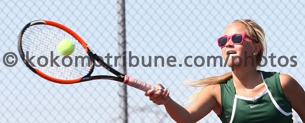 5-16-12<br /> Tennis Sectionals EHS vs Taylor, KHS vs Tipton<br /> EHS Amanda Alexander playing # 1 doubles.<br /> KT photo | Tim Bath