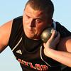 5-24-12<br /> Track Regional held at KHS<br /> Taylor's Lalob Bitner throwing shot.<br /> KT photo | Tim Bath