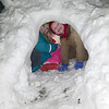 Emma and Jace Smith are  in the igloos they made.<br /> Submitted by Sarah Wendt