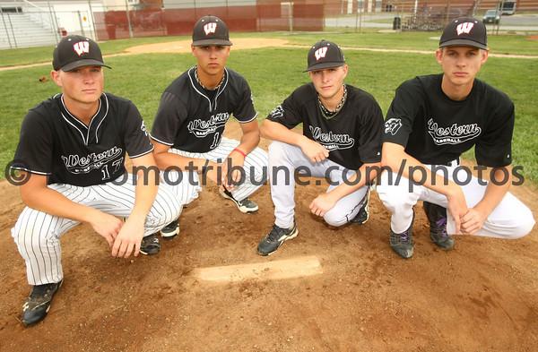5-31-12<br /> Western HS Baseball<br /> Pitchers Cameron Kuntz, Jake Florek, Evan Warden and Ronnie Smith<br /> KT photo | Tim Bath