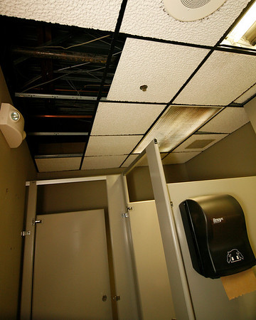 Allegra Boverman/Gloucester Daily Times. This ladies room in the CATA Building was damaged by water, as were many other offices there, earlier this week. Many City of Gloucester offices are housed there.