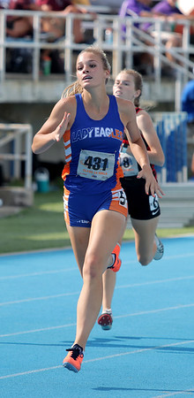 Newton's Whitney Zumbahlen competes in the 400-meter dash event at the Class 1A girls track and field state finals, on Thursday, July 10, 2021, at O'Brien Field on the campus of Eastern Illinois University in Charleston, Illinois.